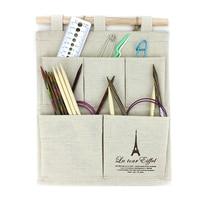 Knitting Tools Bag Linen Hanging Organizer Multifunction Waterproof 5 Pocket Tiussue Case Hanger Storage Bag For Needle and Yarn