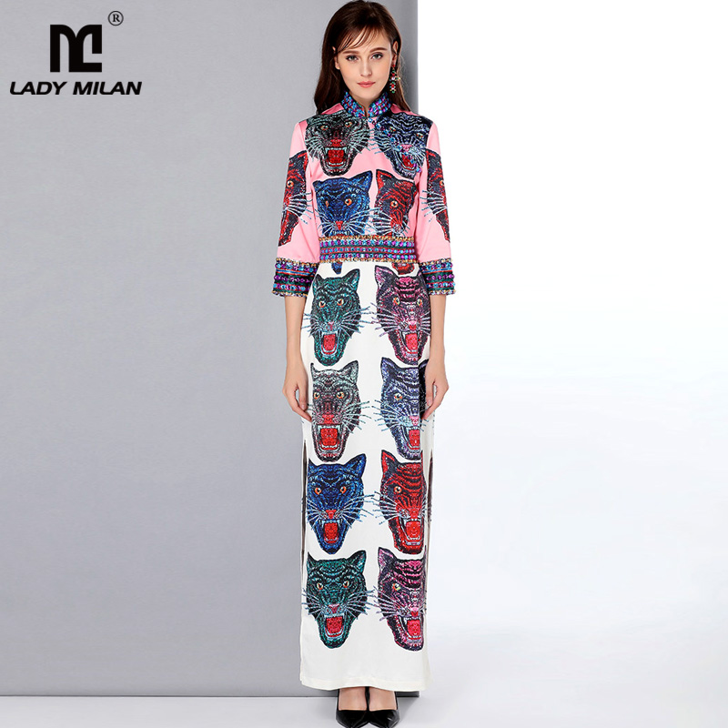 New Arrival Women s Stand Collar 3 4 Sleeves Beaded Cartoons Printed Side Split Designer Elegant