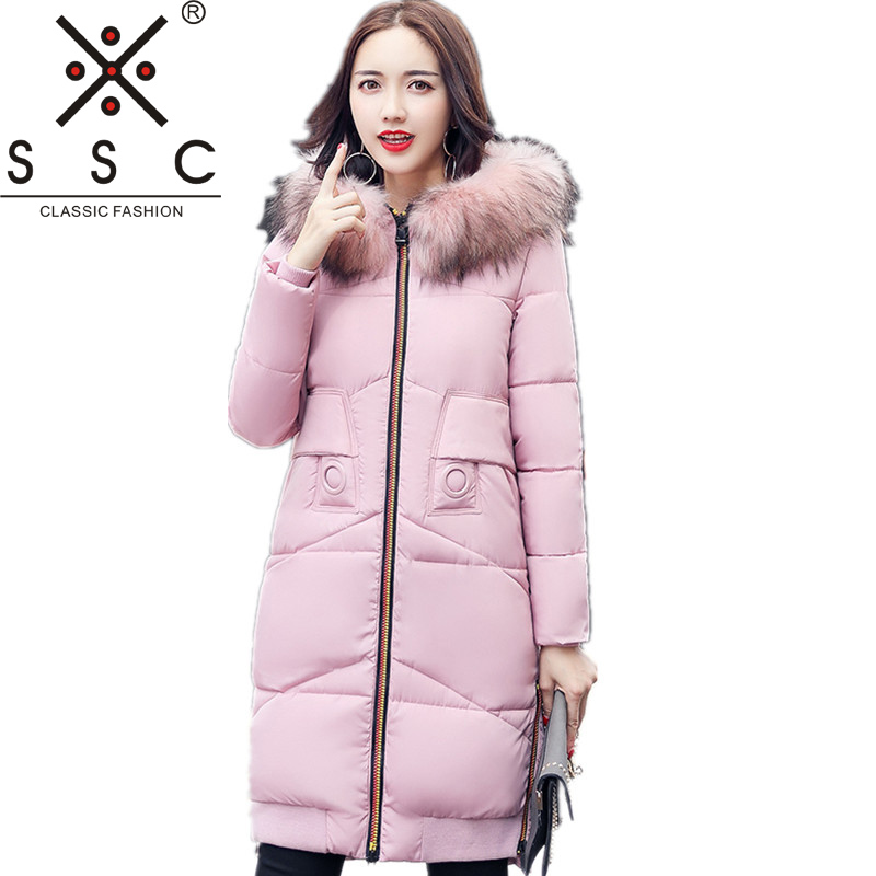 SSC 2017 New Women Long Winter Jacket Plus Size Warm Cotton Coat  Fight color  Hooded Fur Collar Female Parkas  Wadded Outerwear 2017 new hot women cotton coat plus size wadded winter jacket long parkas female fur collar thick warm hooded outerwear 5l73