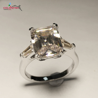COLORFISH 3 Ct Square Three Stone Ring Women Engagement Wedding Authentic 925 Sterling Silver SNOA NSCD Female Finger Ring