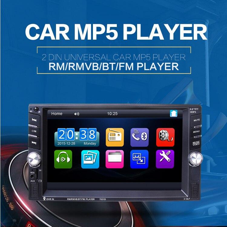 """imágenes para NUEVA 2 DIN autoradio Reproductor de Radio de Coche 6.6 """"pantalla Táctil de hd Cámara de Visión Trasera Bluetooth Estéreo FM/MP3/MP5/Audio/USB Electrónica Automotriz"""