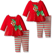 Christmas  2-6 years old Kids Baby Girls 2 pieces   Red Cotton  Tops Long Striped Pants
