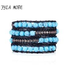 Fyla Mode Newest 6mm Blue Turquoise Bead Black Leather Wrap Bracelet Natural Stone Bracelet Leather Jewelry Bracelet For Lovers