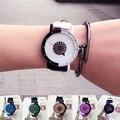 1 pc amantes' assistir relógio dos homens das mulheres vestem relógio de pulso estudante assista Minimalista PU de Couro Relógio de Quartzo analógico Unisex rodada X3