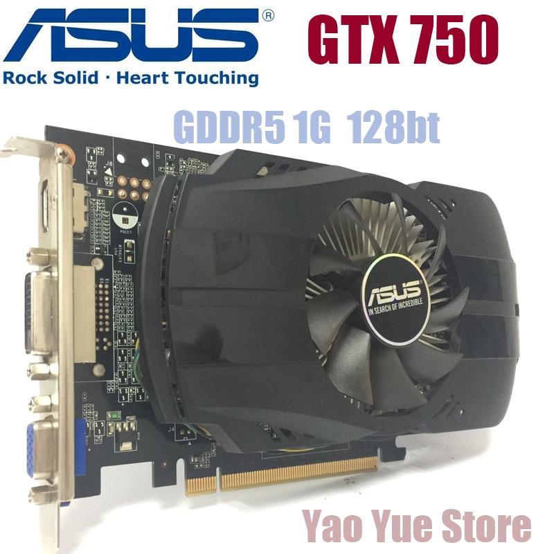 Asus GTX-750-FML-1GB GTX750 GTX 750 1G D5 DDR5 128 Bit PC Desktop Graphics Cards PCI Express 3.0 computer Graphics Cards yeston geforce gt 1030 gpu 2gb gddr5 64 bit gaming desktop computer pc video graphics cards support