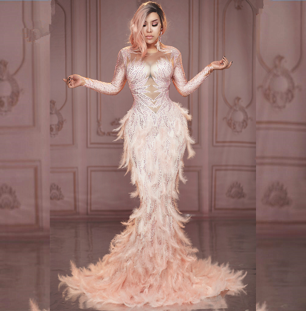 Sparkly Rhinestones Pink Feather Nude Dress Sexy Full Stones Long Big Tail Dress Costume Prom Birthday Celebrate Dresses