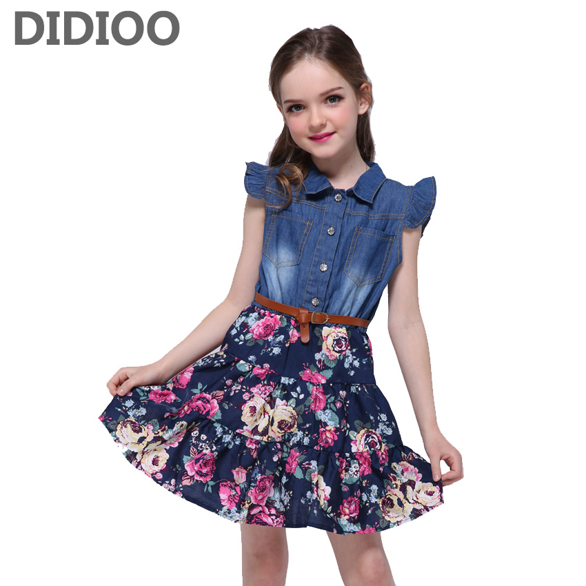 Denim Dresses For Girls Clothing Children Floral Print Dress 2 4 6 8 10 12 Years Summer Kids Princess Party Dress Vestidos teenage girls dresses summer style sleeveless denim dress for girls clothing teens sundress kids clothes 2 4 6 8 10 12 14 15 y