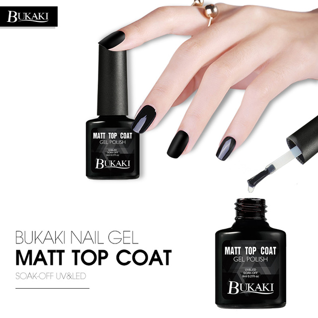 BUKAKI Nail Art Matte Top Coat Semi Permanent Glue Soak Off Tools UV ...
