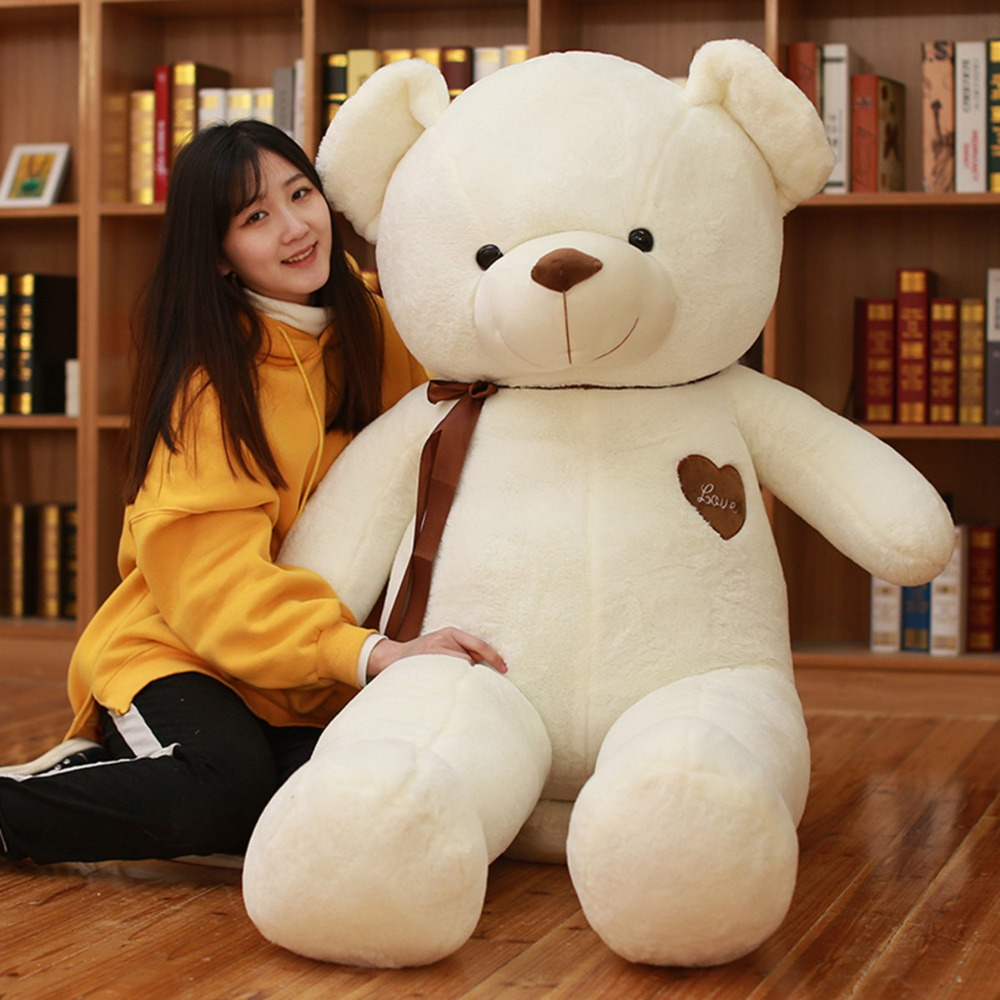 100cm Cute Ribbon Bow Teddy Bear doll Love Heart Plush Toy soft Stuffed animal High Quality Christmas Lovely Gifts for children