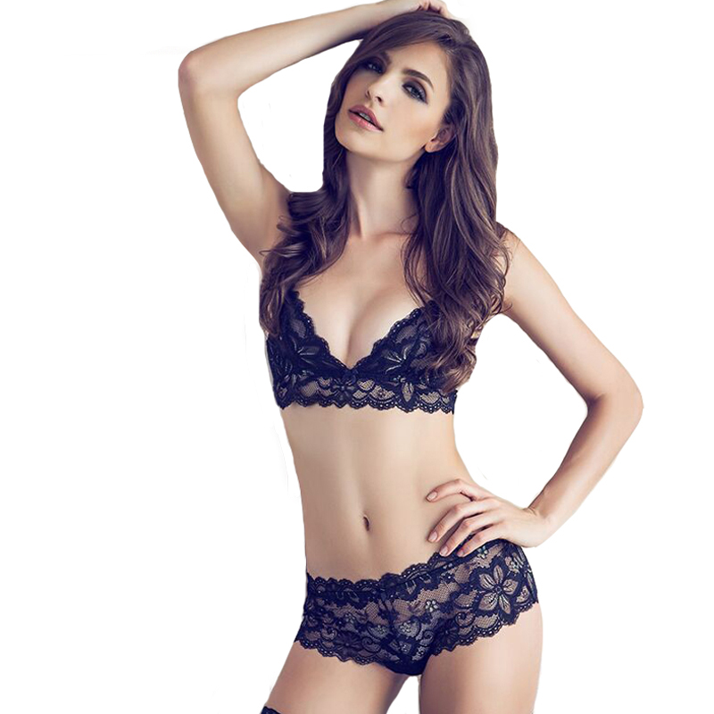 Sexy Mousse Deep V Women's Sexy Bra Set Lace Underwear Sets Soft  Black  Bra Briefs Set Underwear Brassiere Female Underwear Set