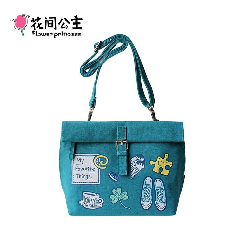 Flower Princess Brand Girls Canvas Small Shoulder Bags for Women Ladies Fashion Flap Bag Woman Crossbody Bags Bolsos Mujer sac