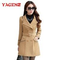 YAGENZ M-3XL осенне-зимняя одежда из шерсти куртка Для женщин двубортное пальто элегантные пальто одноцветное пальто карманы шерстяное длинное ...