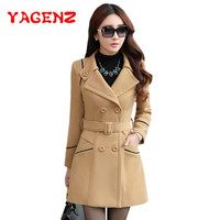 YAGENZ M 3XL Autumn Winter Wool Jacket Women Double Breasted Coats Elegant Overcoat Basic Coat Pockets Woolen Long Coat Top 200