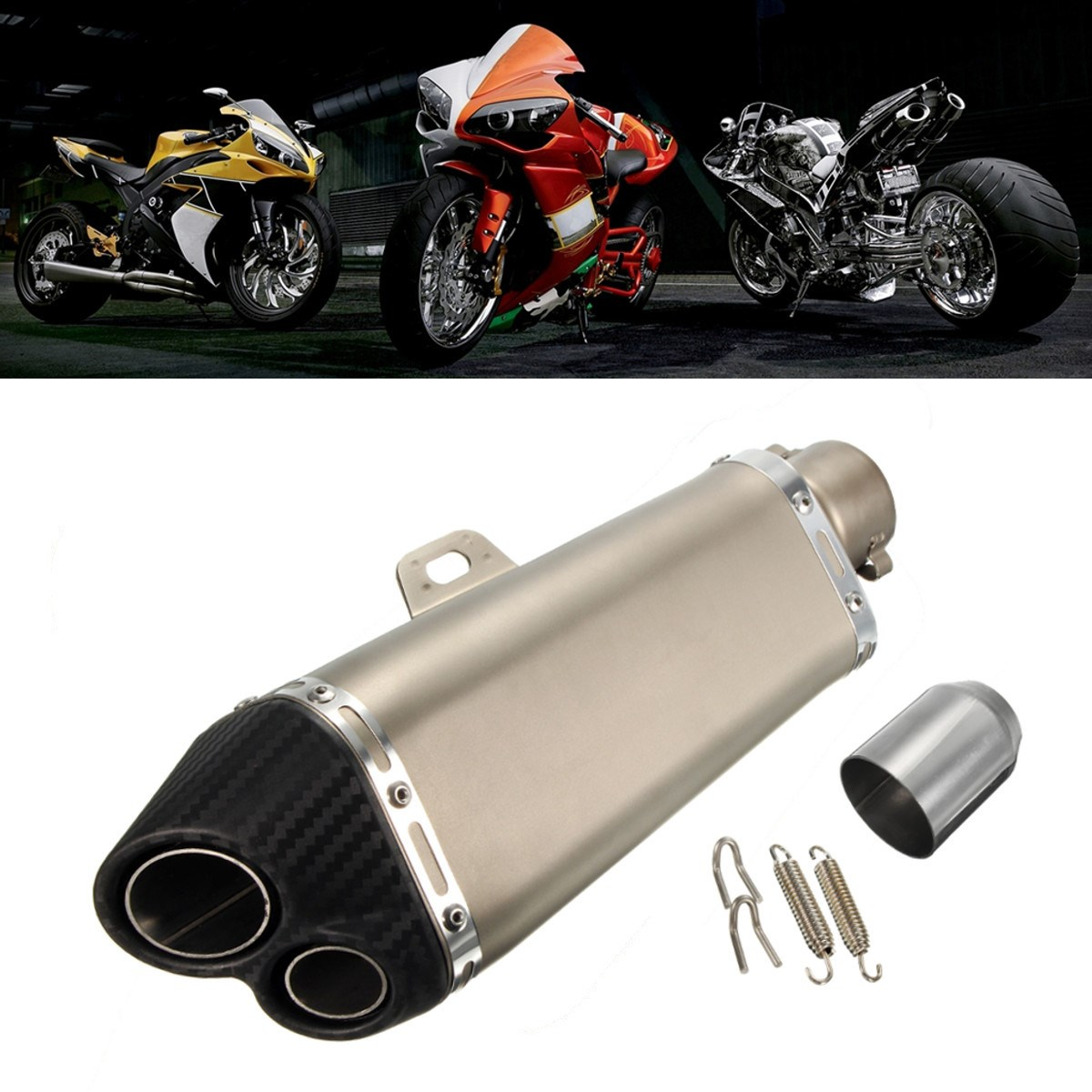 51mm Double Holes Stainless Steel Tube Carbon Fiber Plastic Motorcycle Exhaust Pipe Muffler motorcycle performance exhaust pipe cnc carbon fiber oval tube large displacement car brothers exhaust pipe id 51mm
