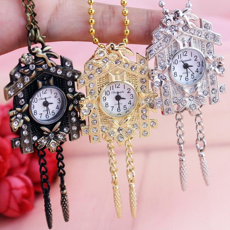 Bronze Necklace Chain Robot Pattern Pocket Watches Kids Child Quartz Women Men Clock Creative Gift Watches
