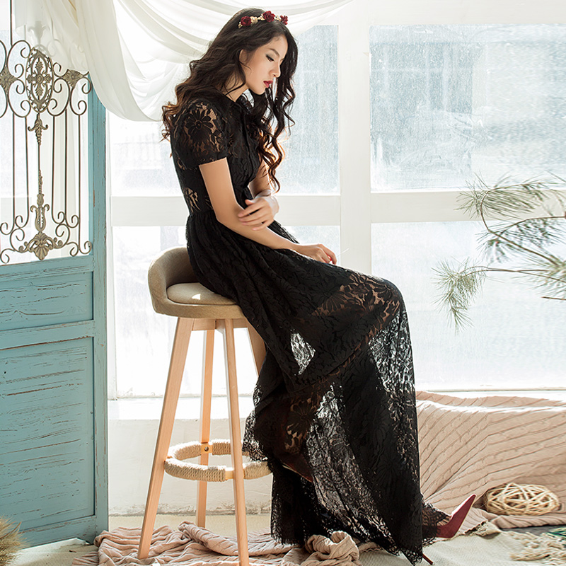 High Quality 2017 New Spring Summer Female Black Hollow Out Lace Long Maxi Dress Women Plus Size Floor Length Vintage Dresses