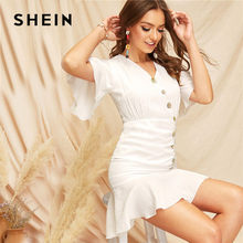 3594c0ef32a2ee SHEIN Boho Asymmetrische Knopfleiste Geraffte Volant Saum Mini Kleid Frauen  Elegante V-ausschnitt Rüschen Sleeve Schlank Weiß Kl..