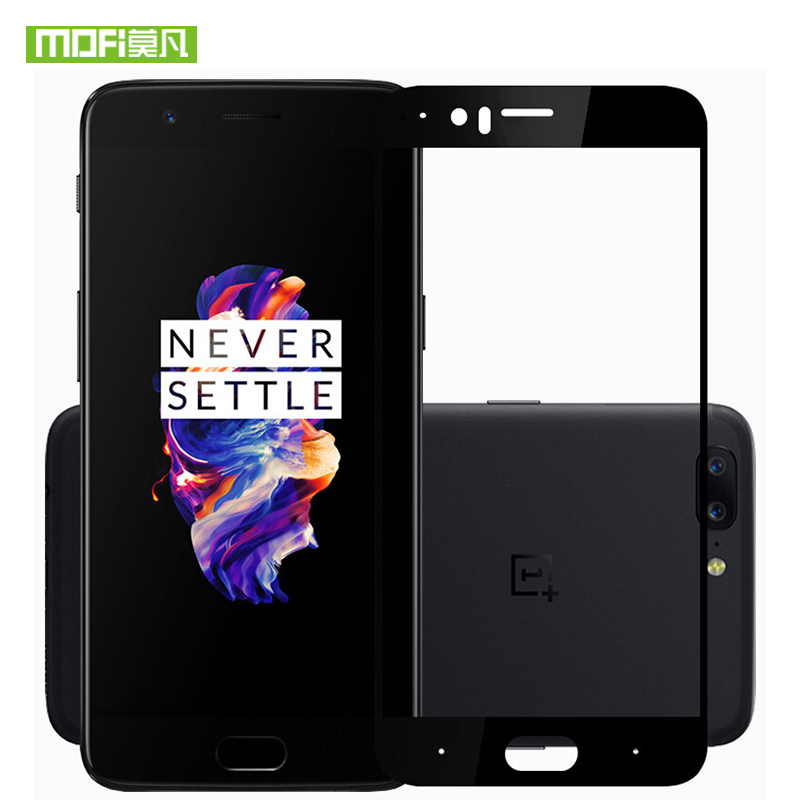 For oneplus 5 glass screen protector tempered 3D full cover film original Mofi one plus 5 glass screen protector protective in Phone Screen Protectors from Cellphones Telecommunications