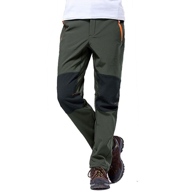 Fleece Cargo Warm Tactical Pants Mens Winter Soft Shell Camouflage Combat Pants Windproof Waterproof Elastic Trousers