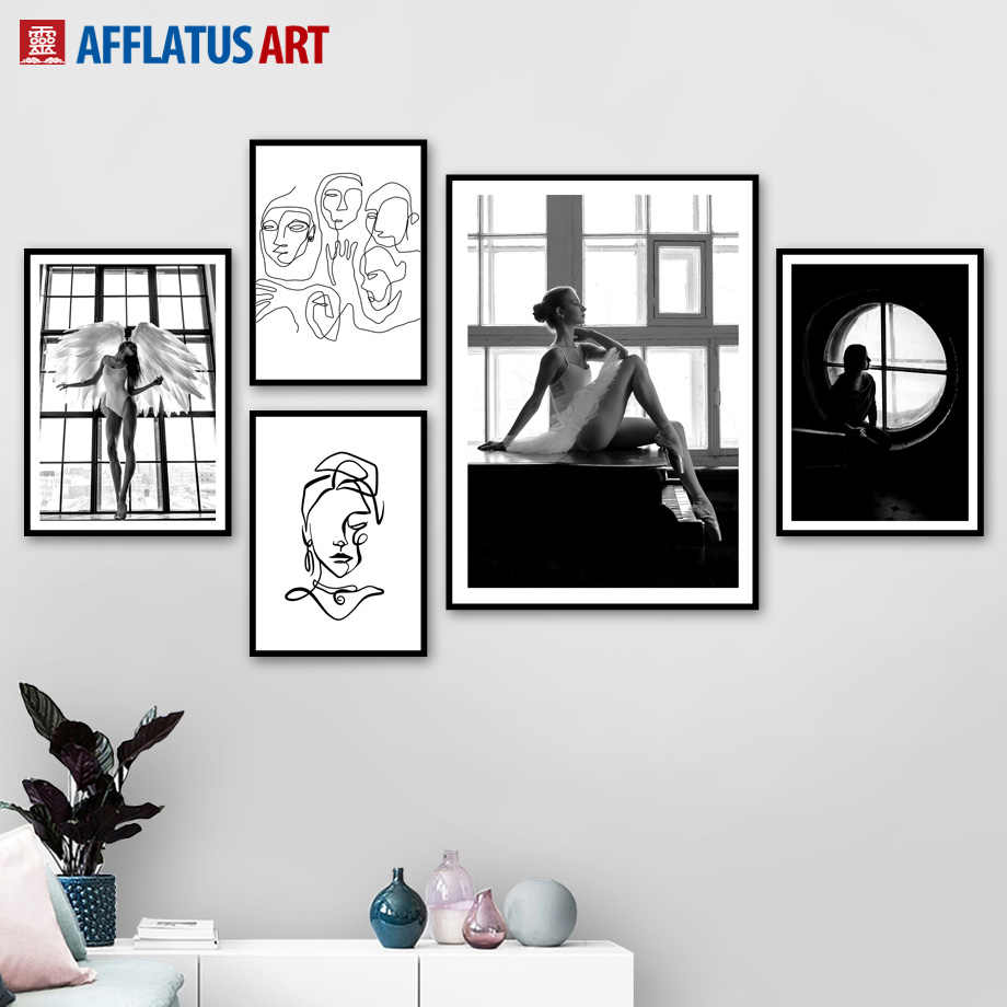 Black White Angel Girl Abstract Figure Wall Art Canvas Painting Nordic Posters And Prints Wall Pictures For Living Room Decor