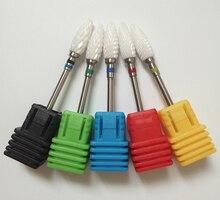 5pcs/SET Nail Drill - ( XC - C - M - F - XF ) Ceramic Foot Bit - White Nail Bit Free Shipping.