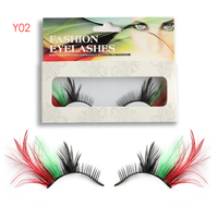 1 Pair Exaggrated Feather False Eyelashes Masquerade Party Stage Eye Lashes Extension ToolsParty Masquerade Gorgeous Decoration False Eyelashes