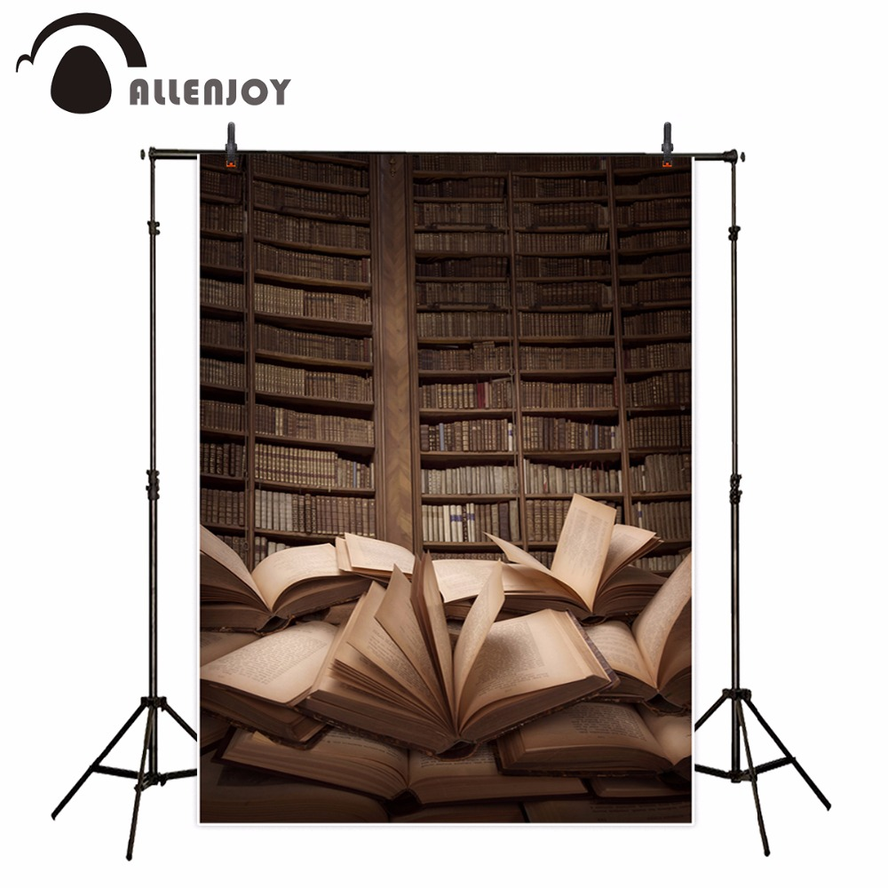 Allenjoy Boekenplank Fotografieachtergrond Retro Bibliotheek Boeken Kinderen Studie Student Achtergrond Foto Booth Photocall Custom Keuze Materialen