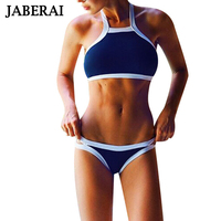 2016 New Women High Neck Swimwear Sexy Crop Top Swimsuit Halter Push Up Bikini Set Thong