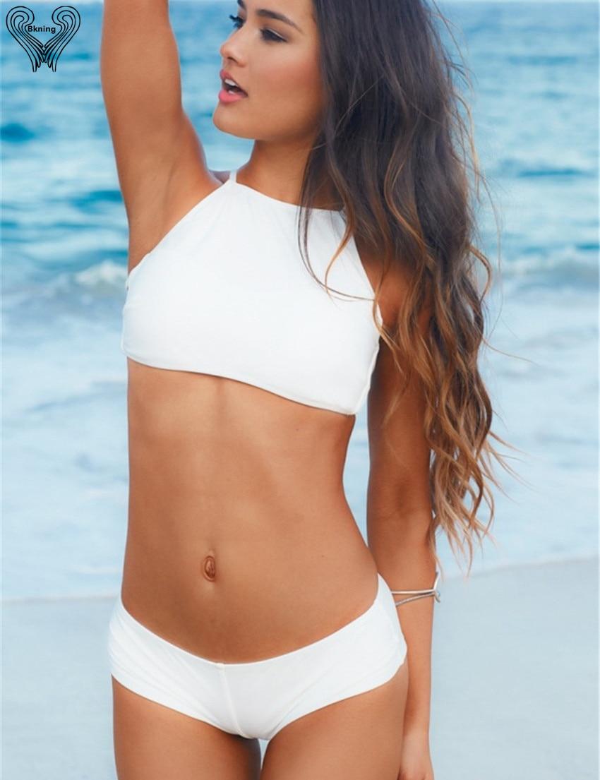 Cropped Bikini 2017 Women Swimwear High Neck Bikinis Vintage Bandage Brazilian Swimsuit White Bathing Suit Ladies Beach Wear