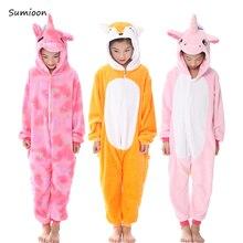 Kigurumi пижамы для детей девочек Единорог аниме панда Onesie детский костюм  пижамы мальчиков комбинезон Единорог зимние fa8b7dc86f101