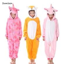 Kigurumi пижамы для детей девочек Единорог аниме панда Onesie детский костюм  пижамы мальчиков комбинезон Единорог зимние 953adacaca717