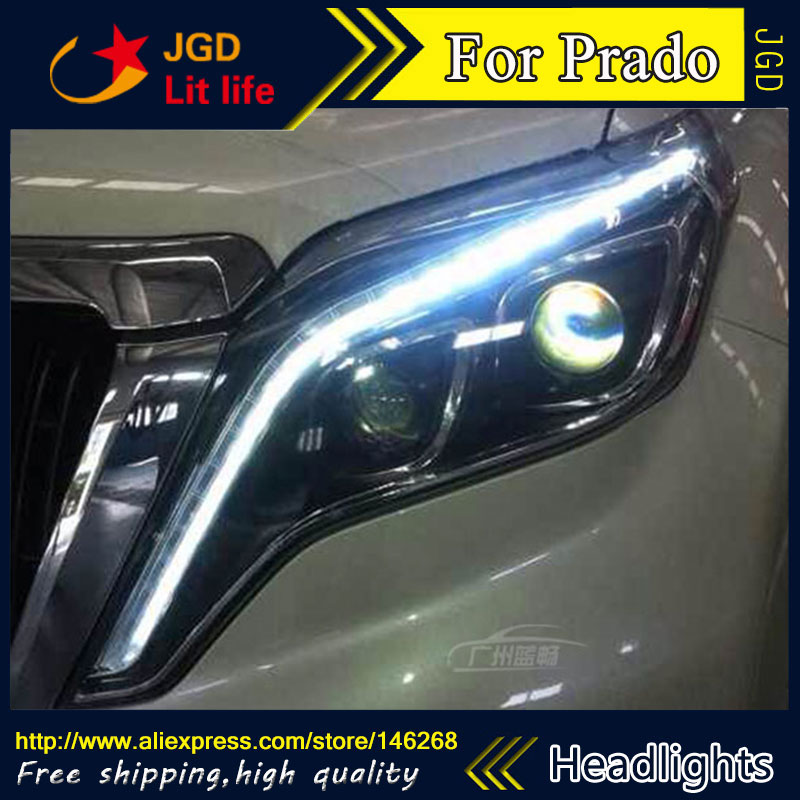 Free shipping ! Car styling LED HID Rio LED headlights Head Lamp case for Toyota Prado 2010-2015 Bi-Xenon Lens low beam цены