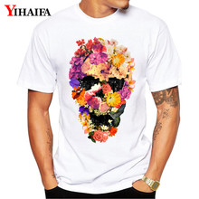 2019 Men Women T Shirt Summer Slim Fit Graphic Tee Creative Floral Skull 3D Print T-Shirts Casual Unisex White Tops men skull and floral print tee