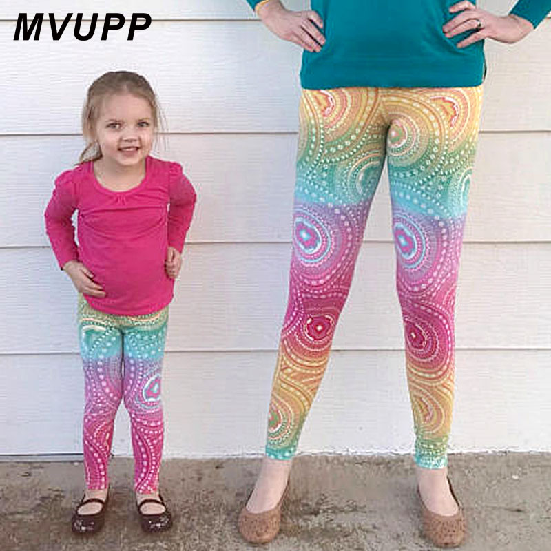 MVUPP mom and daughter clothes yoga pants workout leggings color mother baby family look clothing matching outfits casual mommy