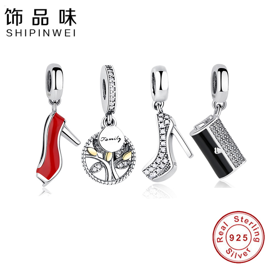 Authentic 925 Sterling Silver Bead Family Tree of Life Bag Shoe Charm Beads Fit Pandora Bracelet Diy Jewelry