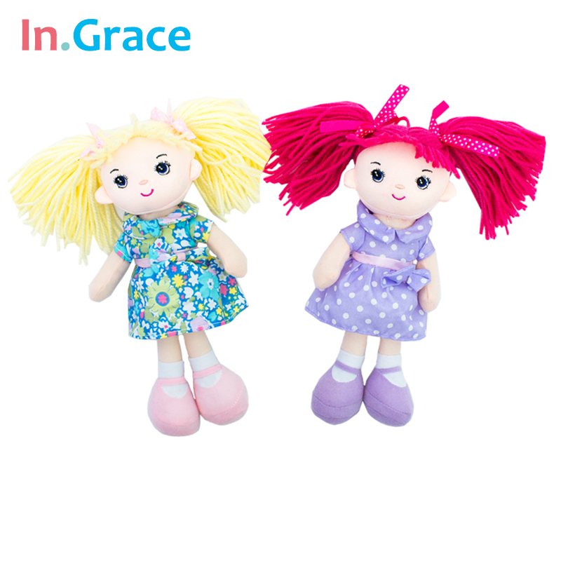InGrace baby girls doll with flower dress blond hair mini dolls big eyes cute toy for girls soft 25CM decoration doll 4 colors стоимость