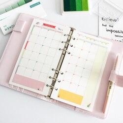 Colorido espiral caderno enchimento de papel reenchimento inserção a5 a6 a7 tamanho diário diário planejador núcleo interno caderno
