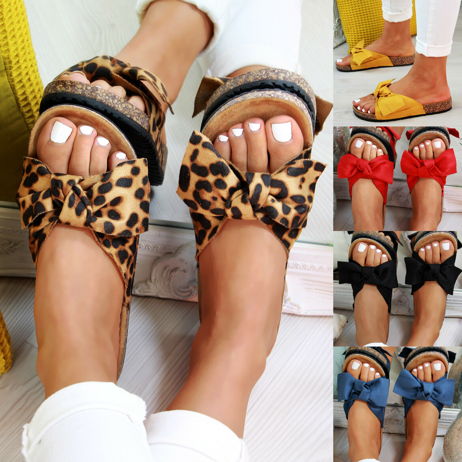Oeak Summer New Womans Slip On Sliders Bow Flatform Mule Summer Sandals Comfy Shoes Sizes 2019Oeak Summer New Womans Slip On Sliders Bow Flatform Mule Summer Sandals Comfy Shoes Sizes 2019