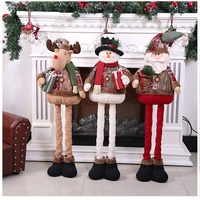 30*110cmChristmas Decoration Santa Claus Snowman Elk Doll Telescopic Standing Doll For New Year Home Ornament Decoration ZY3
