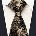 Frete Grátis por atacado Ouro Paisley Cáqui Preto Dos Homens do Laço 100% Silk New Tecido Jacquard Clássico Gravata de Casamento