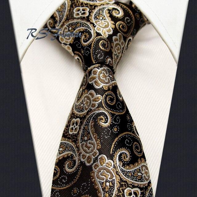 562834096df2 Wholesale Free Shipping Paisley Khaki Gold Black Classic Mens Tie 100% Silk  New Jacquard Woven Wedding Necktie