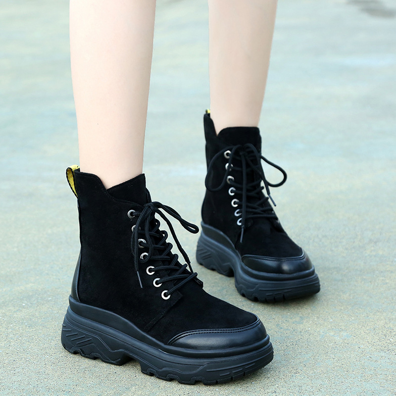 Women Winter Sneakers Flats Platform Lace Up Snow Boots Plus Velvet Lining Ankle Boots Casual Shoes