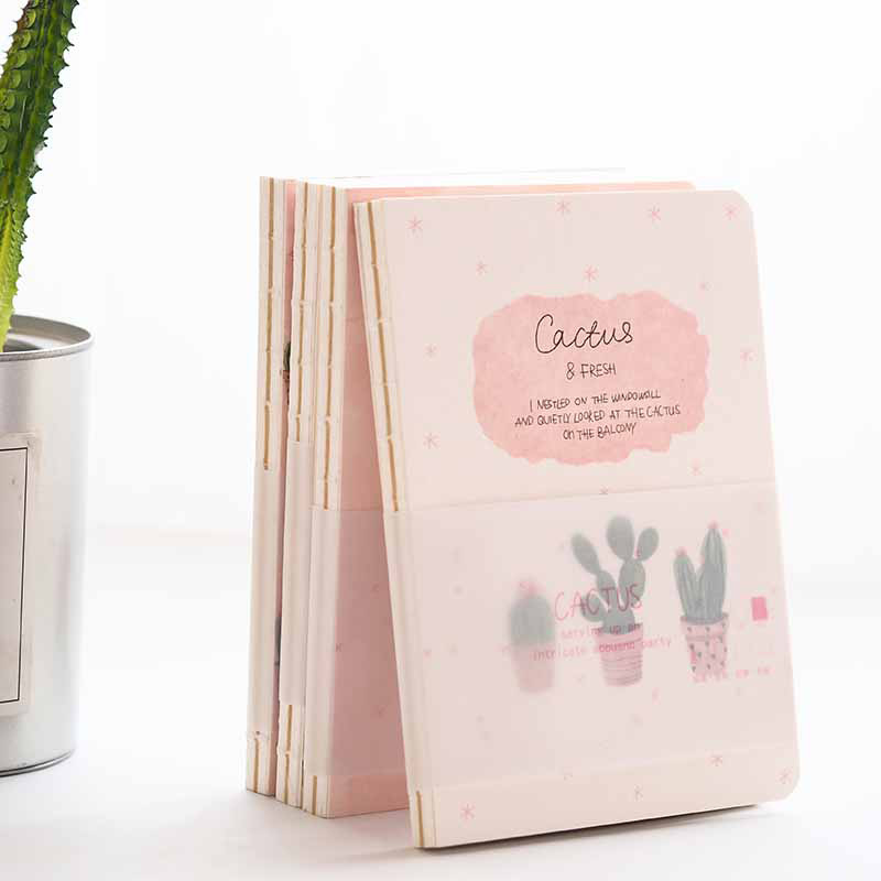 Pink Cactus Cute Beautiful Drawing Notebook Blank Papers Notepad Journal Sketchbook Study Diary pink pineapple cute notebook diary hand memo study journal coil spiral notepad