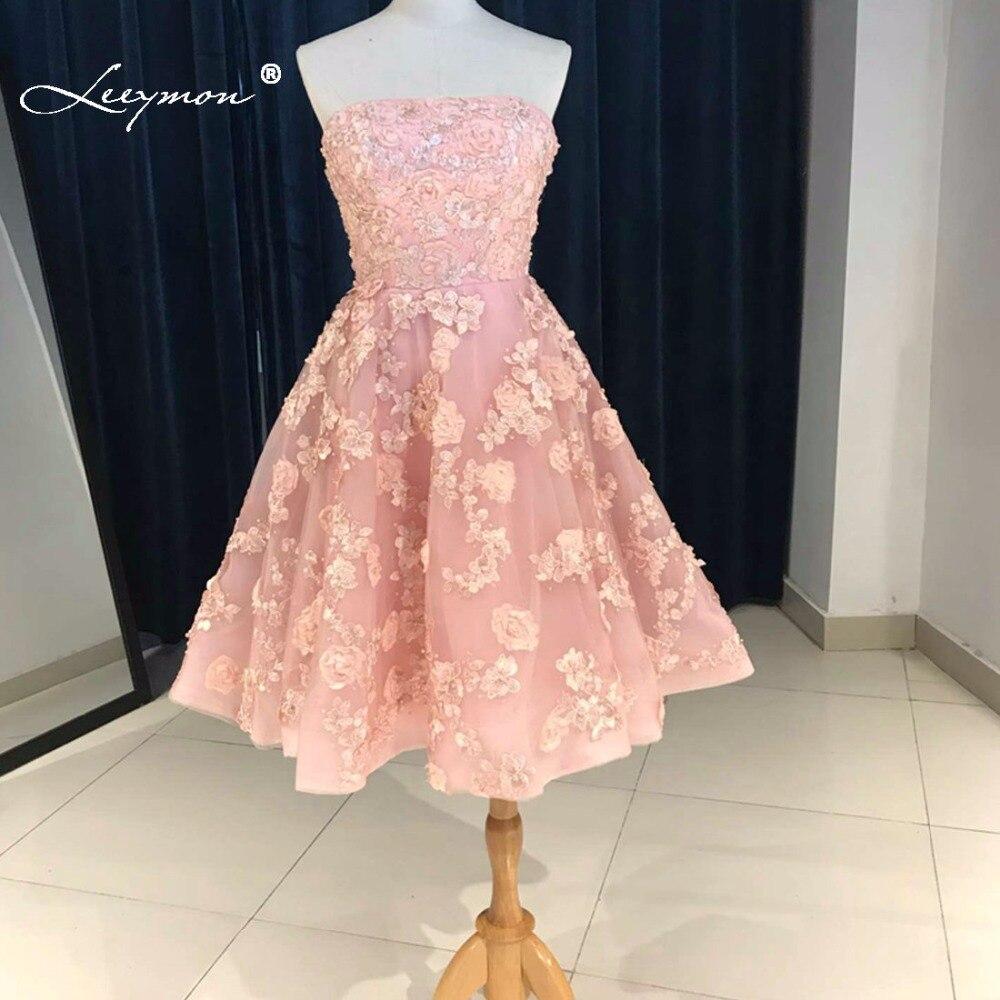 Sexy New Pink Straples Knee-length Cocktail Dress 2017 Vestido de Festa Curto de Luxo Short Party Dress QQ40