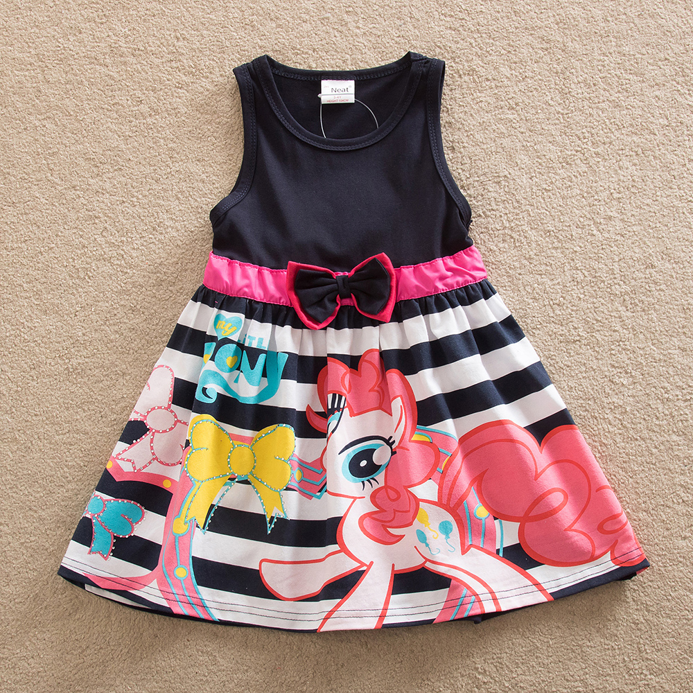 NEAT Summer Girl Clothes Sleeveless vest Kids Printing pattern 4-8 years old Children wear stripes butterfly Baby dress SH5698 girl summer dress for 12 years old sleeveless children printed cartoon princess graffiti dress children polyester girl clothes