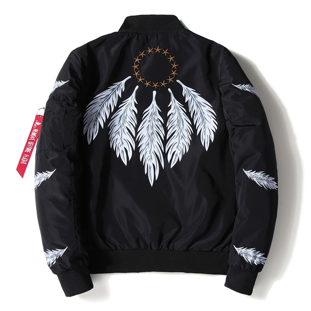 Mens Bomber Jacket Feather Printed Star Embroidery Flight Jackets Pilot Air Force Army Green Military Motorcycle Jacket Coat Men