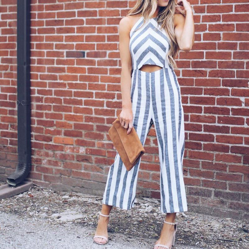 51efcf3171f9 Cut Out Striped Jumpsuit 2018 New Summer Mid Waist Hollow Out Backless  Women Clothing Spaghetti Strap Jumpsuit