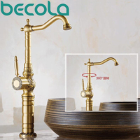 Becola Luxury High Quality Single Handle Basin Faucet Antique Brass Hot And Cold Water Bathroom Faucet