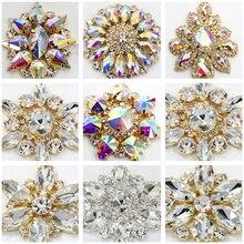 Круглый цветок кристалл AB пришивные стразы аппликации с Золотым дном пришивные стразы для свадебного платья B0930