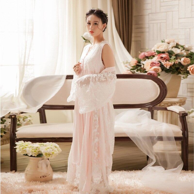 f1876337ff 2019 Soft White Lace Vintage Women Sleepwear Long Nightgown Ladies ...